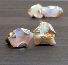 Australian Opal studs Raw Opal studs Opal jewelry by MyPerception