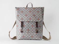Waterproof laminateGray arrow linen backpack laptop por BagyBags