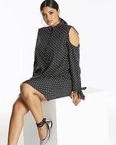 Women's Plus Size Open Shoulder Shirt Dress #plussize