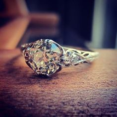 Edwardian engagement ring circa 1915 with a beautiful Old European cut diamond - we're in love