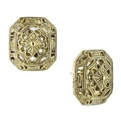 Bellissimo Vintage Octagon Brass Square Stud Earrings