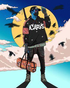 Urban Samurai, Samurai Art, Samurai Wallpaper, Badass Drawings, Trill Art, Copic Drawings, Black Anime Characters, Cyberpunk Art, Guy Drawing