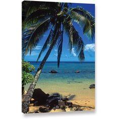 Kathy Yates Beautiful Anini Beach Canvas Art, Size: 16 x 24, Green
