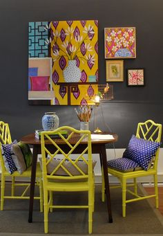 Mariska Meijers, bright yellow chairs