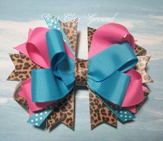 Leopard Cheetah Hair Bow by PegsClayGround on Etsy, $5.00