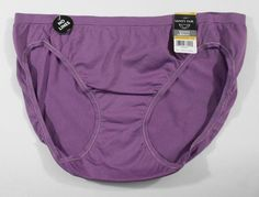 Vanity Fair Bikini Panties Purple Size 7 L Nylon Solid Seamless Tailored Womens