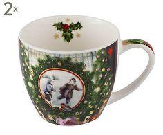 Kaffeebecher Vintage Winter, 2 Stück, H 8 cm