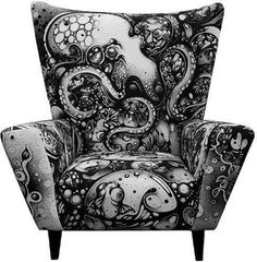 Octopus Pattern Chair - A British classic given an up to date twist thanks to Nanami Cowdroy. A screen printed faux suede fabric with an awesome black and white octopus scene. I NEED THIS CHAIR. Patterned Chair, Funky Furniture, Ikea Furniture, Ikea Chair, White Furniture, Office Furniture, Gothic House, Take A Seat, My New Room