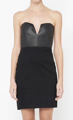 Mason Black Dress with a short draped lapel leather jacket would be great!