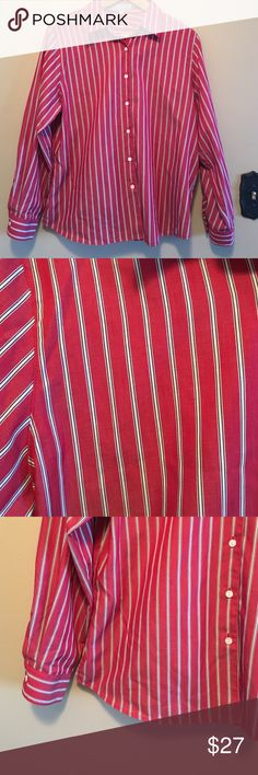 """Foxcroft 14 wrinkle free 100% cotton dress shirt Switch from professional to casual quickly in this great looking red vertical striped slimming button down dress shirt from Foxcroft in a size 14. Shirt is a wrinkle free style, 100% cotton, and features white buttons up the front and on cuff. Fabric care instructions machine wash cold tumble dry low. Dimensions taken while garment is laying flat: 17"""" across shoulders, 46"""" bust, 44"""" waist, 46"""" hips, sleeve length 24"""", length from shoulder to…"""