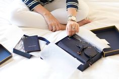 Krista from Covering The Bases with her Aspinal of London Travel Collection in Navy