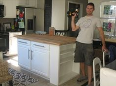 LOVE this! DIY Butcher Block Island from a Cabinet and Shelf.