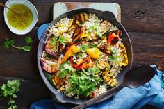 With barbecued vegetables and an extra kick from the jalapeño dressing, this couscous salad is great for spring entertaining with friends. Creamy Pasta Salads, Creamy Potato Salad, Easy Pasta Salad, Easy Salads, Summer Salads, Pasta Food, Healthy Salads, Healthy Eating, Healthy Recipes