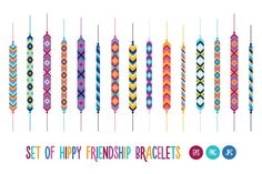 Set of hippy friendship bracelets by moibalkon on @creativemarket