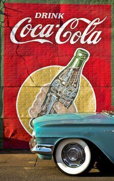 Vintage Wall Art - Drink Coca Cola - photo by David Bouchat Coca Cola Poster, Coca Cola Drink, Cola Drinks, Coca Cola Ad, Always Coca Cola, World Of Coca Cola, Coca Cola Bottles, Coca Cola Vintage, Vintage Advertisements