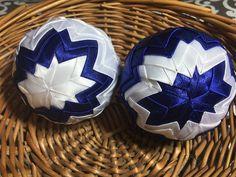 Dekorácie - vianočné patchworkové gule modro-biele - 7149009_