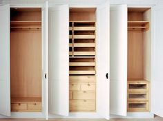Fitted wardrobes with low cost pine interior shelves and hanging space, the painted doors could be MDF. Master Bedroom Closet, Bedroom Wardrobe, Built In Wardrobe, Bedroom Closets, Curtain Wardrobe, Cupboard Wardrobe, Cupboard Doors, Fitted Bedrooms, Balkon Design