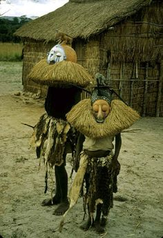 Africa |  Initiation rituals near Kasongo Lunda, Congo. 1951 - by Eliot Elisofon.  { good example of Yaka/Bayak initiation masks being worn }