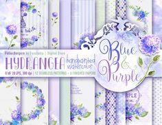 Hydrangea Watercolor Digital Paper. Blue Purple by FoliesBergere