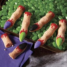 These cookie fingers lend a creepy hand to your Halloween celebrations. Create a few using the Wilton Monster Finger Cookie Pan and royal icing tinted with Wilton Icing Colors.