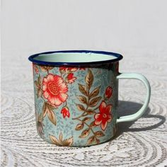 Mossie Handmade - Mint Enamel Mug – Blue Floral Market Day Ideas, Painted Coffee Mugs, Fresh Outfits, Craft Markets, Buy Shoes, Best Brand, My Favorite Color, Shades Of Blue, Fashion Online