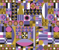Flora Carnivale fabric by friedbologna on Spoonflower - custom fabric purple gold