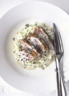 John Torode's peppered duck breast with celeriac mash and thyme: Duck breasts make a great main course for entertaining - they are quick to cook and full of flavour. This easy recipe serves them in a creamy, peppery thyme sauce with celeriac mash