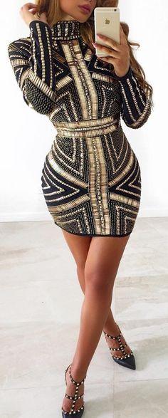 #winter #fashion /  Black & Gold Dress + Studded Pumps