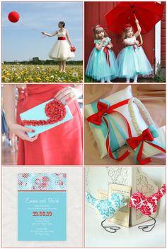Indie Weddings Month 2012: Aqua & Red