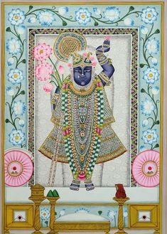 Shrinathji is a form Krishna, manifest as a seven-year-old child (Balak) lotus folk art pattern Buddha Painting, Krishna Painting, Krishna Art, Pichwai Paintings, Indian Paintings, Peacock Embroidery Designs, Buddha Sculpture, Mood Colors, Indian Folk Art