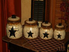 Country Farm House Vintage Primitive Star Canister Set Rooster Pig Cow