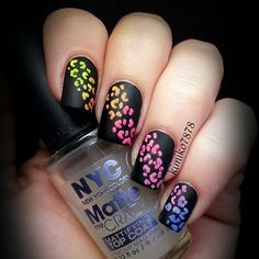 Pinned by www.SimpleNailArtTips.com Instagram photo by  kimiko7878 #rainbow #nails #nailart #black #matte
