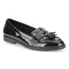 ffc4fe7495b Clarks Della Bea BL- Girls Slip-On School Shoe in Black Patent Leather  School