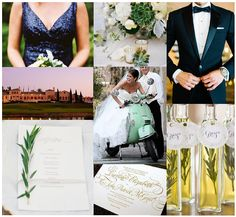my wedding inspiration - navy sequins bridesmaids - mint green and white florals - black tuxedos - marbella country club - mint vespa - rosemary/herb on menus - gold invitation - olive oil party favors