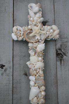 Beach House Decor/Seashell Cross on Reclaimed Wood/Beach Wedding Cross ~by My Honeypickles