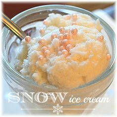 Have you made snow ice cream before? It's fun. It's easy. It's yummy. Kids LOVE it. It's the coolest thing ever to make ice cream from snow! Frozen Desserts, Frozen Treats, Just Desserts, Delicious Desserts, Dessert Recipes, Yummy Food, Fun Food, Snow Icecream Recipe, Yummy Treats