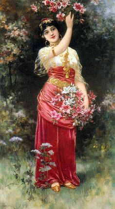 Emile Eisman-Semenowsky Paintings, An Oriental flower Girl