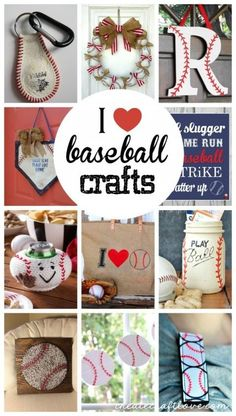 These Baseball Crafts are sure to hit one out of the park! via These Baseball Crafts are sure to hit one out of the park! Baseball T Shirts, Baseball Boys, Baseball Birthday, Baseball Party, Baseball Season, Baseball Stuff, Baseball Signs, Softball Stuff, Baseball Cap