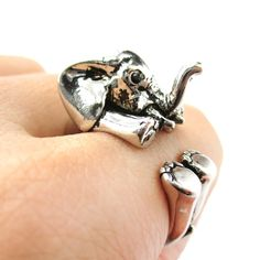 3D Baby Elephant Animal Wrap Around Ring in Shiny Silver