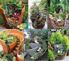 Brokrn pots into garden treasures