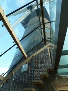 Gorgeous glass roof on Reeds Windmill, Kent, UK Glass Roof, Windmill, Mudroom, Floors, Stairs, Windows, Home Decor, Home Tiles, Glass Ceiling