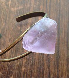 Raw Fluorite Crystal Cuff Metal Cuff Crystal Healing Crystals and Stones Bohemian Cuff Crystal Bracelet Hippie Bracelet Fluorite Cuff