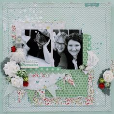 """Be Merry"" Layout – Anita Bownds Kaisercraft Products Used: T613 Quarters stencil – P1577 Wreath – EM926 Lace IP726 island ink – SB700 Rhinestones – F669 Mini blooms T314 Double sided tape – CT802 Mistletoe collectables – P1573 Eggnog P1579 santa's helpers – P1575 jingle bells – P1576 Tree Trimming other- machine stitching – Twine – cotton – silhouette cut  ""Merry and Bright"" Card – Anita Bownds Kaisercraft Products Used: EM926 Lace – SB700 Rhinestones – F664 Blooms P1576 Tree Trimming –…"