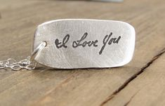 Handwritten Necklace - Memorial Jewelry -  ACTUAL Handwriting on Silver - Personalized Jewelry - Handwriting Jewelry
