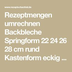 Rezeptmengen umrechnen Backbleche Springform 22 24 26 28 cm rund Kastenform eckig Rezepte Backform Umrechner