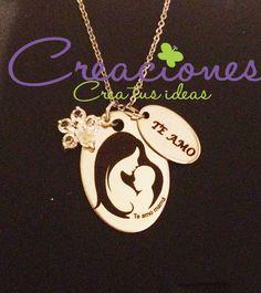 cadena acero inoxidable con Dije mamá e hijo personalizado - Creaciones www.creaciones.mx