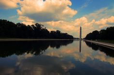 Reflecting pool - Washington DC #Reflecting pool #Washington DC #USA #Water #Clouds #Monument #reflection #my favourite #Canon Camera Sx500S # #photo #photography #fliiby #images #yyazilim #people #nature