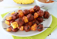 BBQ Pineapple Meatball Skewers