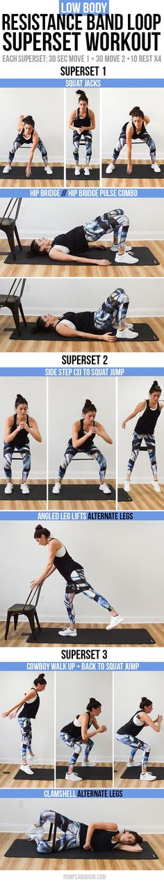 Resistance Band Loop Superset Workout focus is on butt & thighs only 15