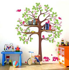 Wall Shelving Tree with Squirrels and Birds